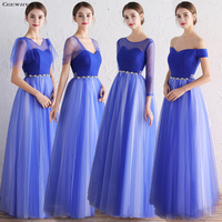 CEEWHY Blue Bridesmaid Dresses Long Robe Bleu Marine Brautjungfernkleid Robe Mousseline Robes Demoiselles D Honneur Longue