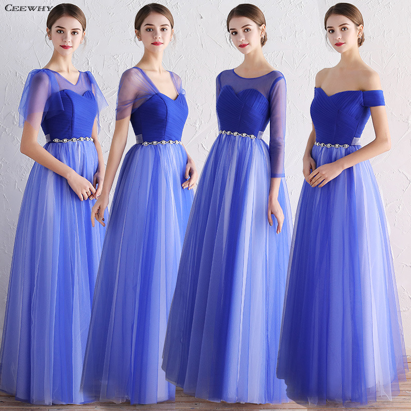 CEEWHY Blue   Bridesmaid     Dresses   Long Robe Bleu Marine Brautjungfernkleid Robe Mousseline Robes Demoiselles d honneur Longue
