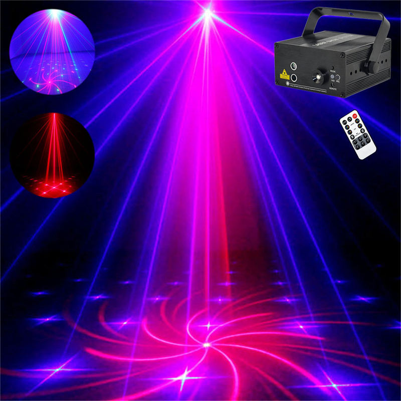 AUCD 3 Lens 18 RB Pattern Red Blue Laser Crossover Effect Projector 3W Blue LED Mixing Effect DJ Party Show Stage Lighting Z18RB rg mini 3 lens 24 patterns led laser projector stage lighting effect 3w blue for dj disco party club laser
