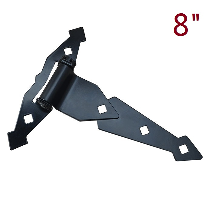 8/18 Heavy Adjustable Self Close Tee T Hinge in black Tru-Close Decorative Spring Strap Barn Gates Hinges Wrought Hardware