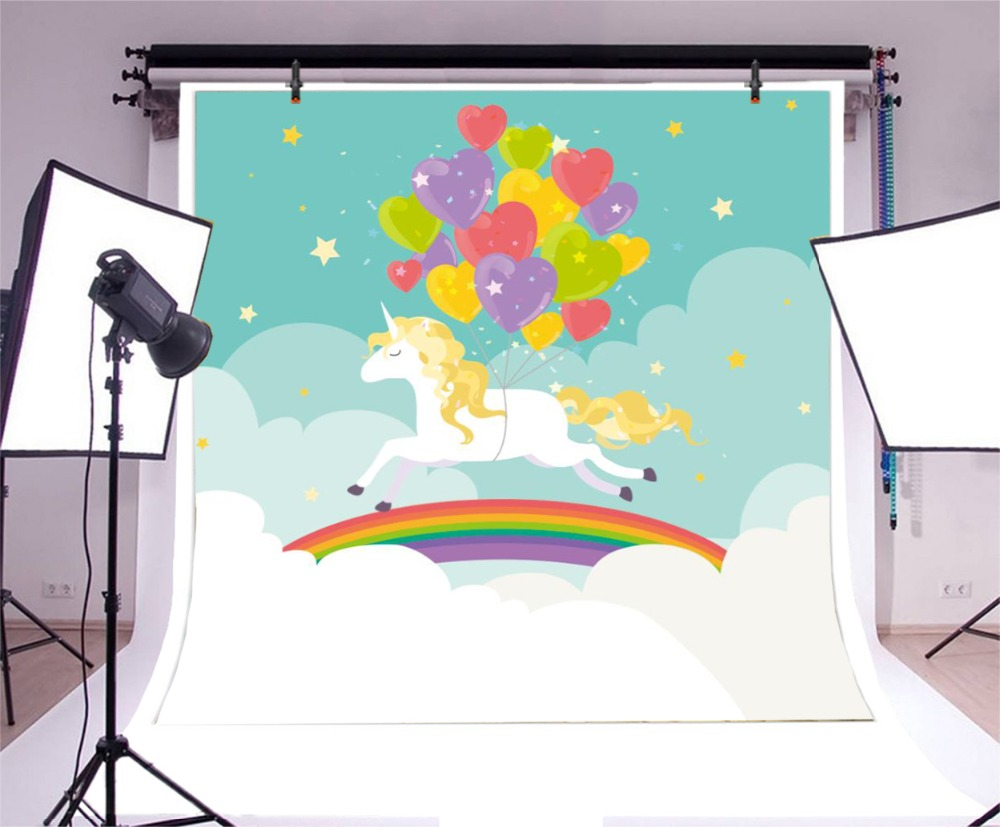 Laeacco Happy Birthday Unicorn Balloons Rainbow Scene Photography Backgrounds Customized Photographic Backdrops For Photo Studio