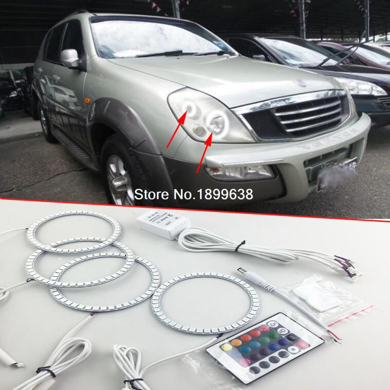 4pcs Super bright 7 color RGB LED Angel Eyes Kit with a remote control car styling for Ssangyong Rexton 2003 2004 2005 2pcs super bright rgb led headlight halo angel demon eyes kit with a remote control car styling for ford mustang 2010 2012