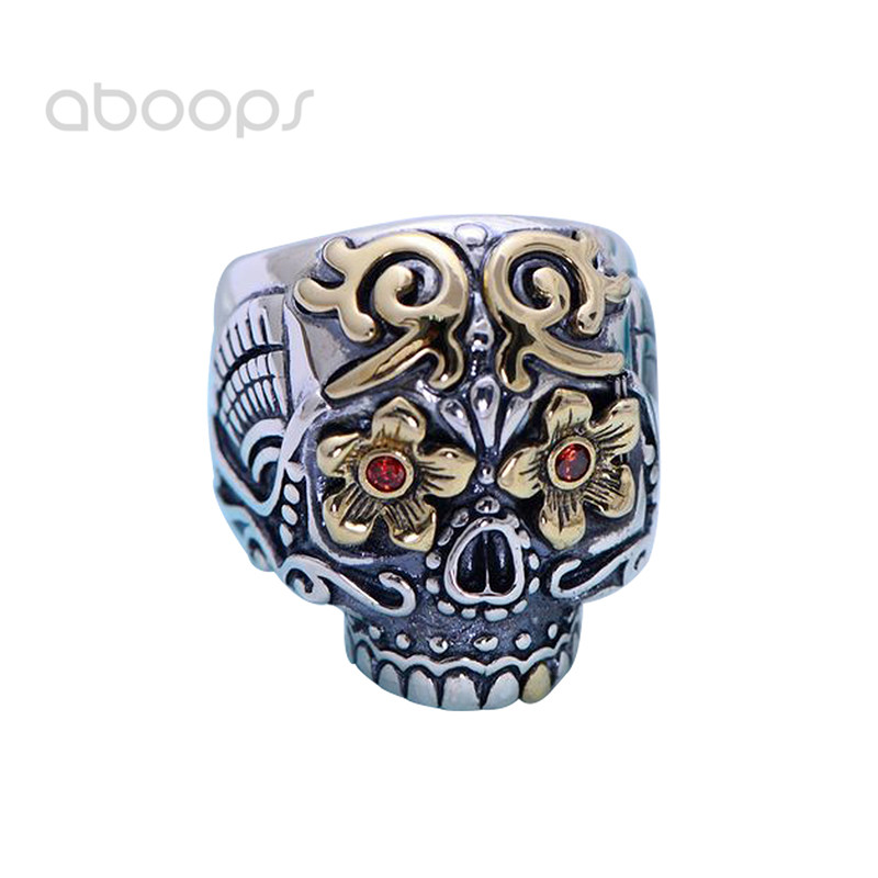 где купить Punk 925 Sterling Silver Skull Open Ring with Red Eyes for Men Boys Adjustable Free Shipping дешево