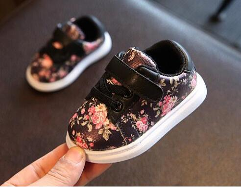 2018 Cute Baby Shoes For Girls Soft Moccasins Flower printing Baby casual sports shoes Toddler Boy sneakers First Walkers