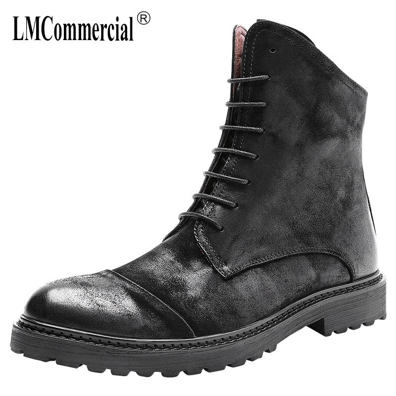 Здесь можно купить  high top shoes men Genuine Leather Martin boots male all-match cowhide short boots mens utumn winter British military boots  Обувь