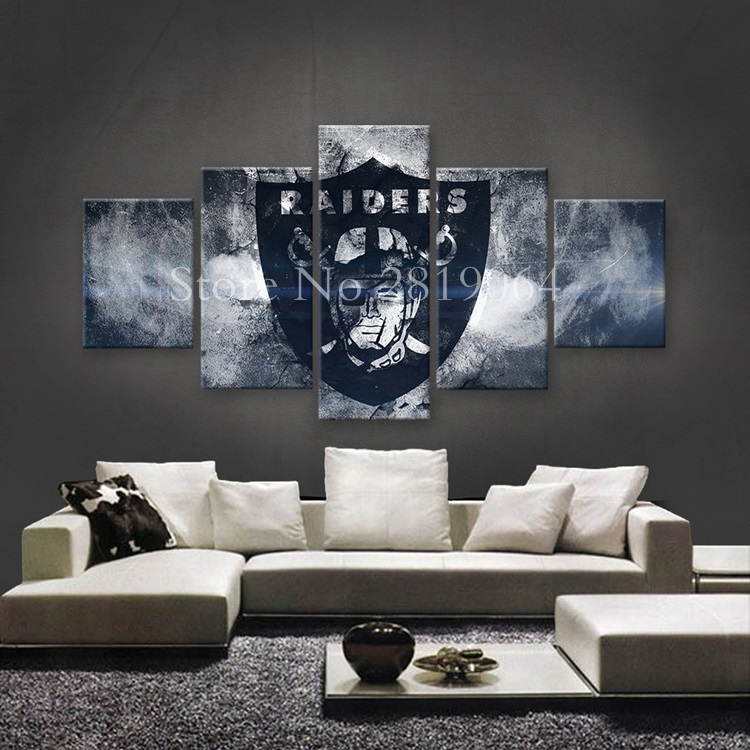 Modern Art Wall Paper Oakland Raiders Sports Themed Oil Painting On High Quality Canvas Living