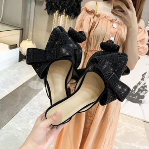 Image 2 - Pointed toe half slippers Female summer wear 2019 new fashion Rhinestone bow Lazy flat sandals Womens shoes