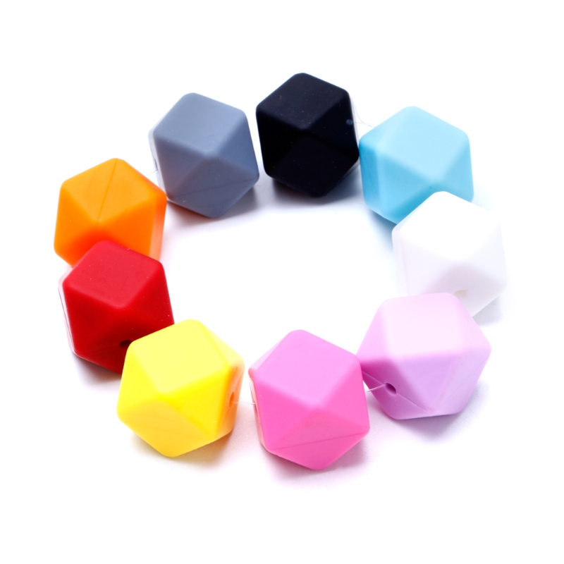 5Pcs Silicone Hexagon Teething Beads Nursing Baby Teether Necklace Making DIY