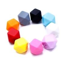 5Pcs Silicone Hexagon Teething Beads Nursing Baby Teether Necklace Making DIY