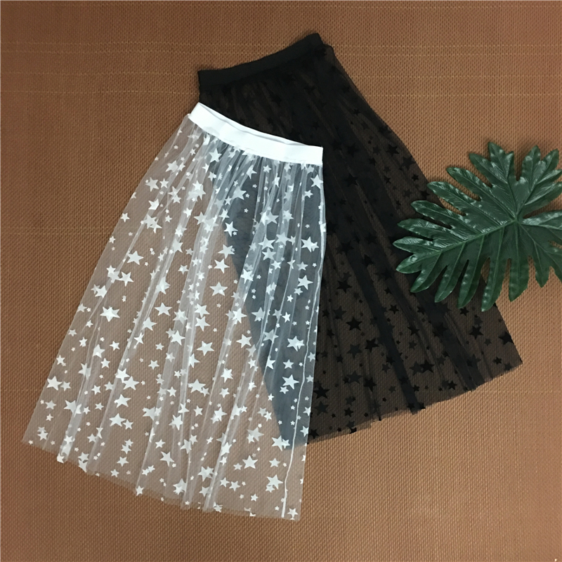 Autumn Winter Women Mesh Hollow  Out Skirts Fashion Casual Elegant Lace Transparent Skirt Stars Overskirt Midi A Line Long Skirt