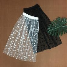 Jesień zima kobiety Mesh Hollow Out spódnice moda na co dzień eleganckie koronkowe przezroczyste spódnica gwiazdy Overskirt Midi linia długa spódnica tanie tanio -Line Poliester empire Połowy łydki Koronki Geometryczne WEIKADUN