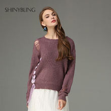 Oversized Knitted Pullover Women Autumn Winter Fashion Design Crossing Band Hole Sweaters White Blue Casual Jumper Sweater Top