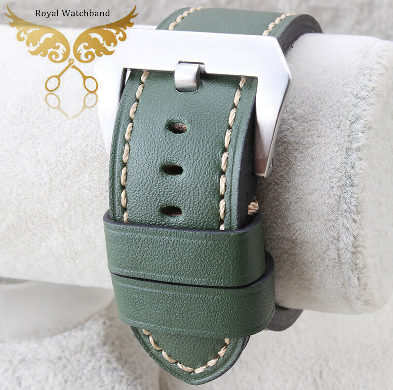 24mm NEW Top Quality Green Genuine Leather Watch Band/Strap Brushed Clasp Buckle For P-A-N-E-R-A-I Fast Shipping new 24mm italy black genuine leather watch band strap silver brushed stainless steel buckle clasp for brand free shipping