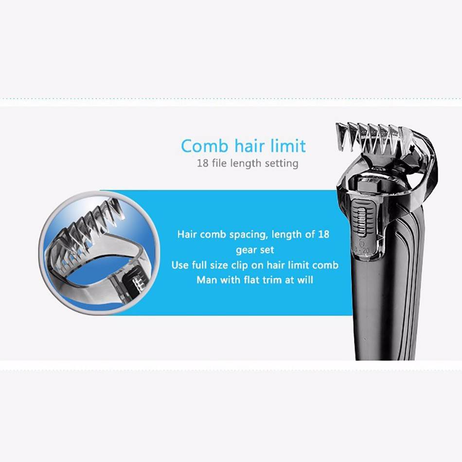 Kemei KM-1832 5 in 1 Professional Washable Rechargeable Electric Hair Clipper Trimmer Cordless Adjustable Clipper Free Shipping