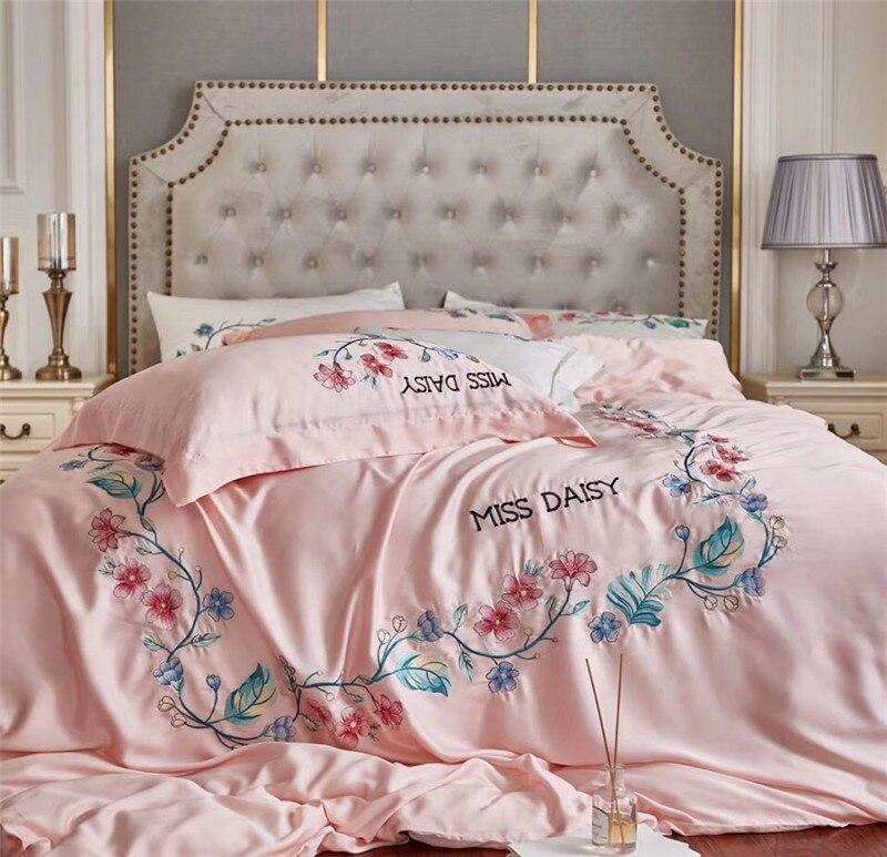 Роскошная 60 S Tencel шелковая вышивка с розами розовый светло синий постельное белье для принцессы комплект пододеяльник кровать застежки для
