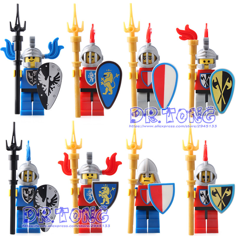 DR.TONG 8PCS Medieval Castle Heavy Armor Knight with Weapons Knight King Figures Mini Building Blocks Bricks Children Toys 9819 castle and knight