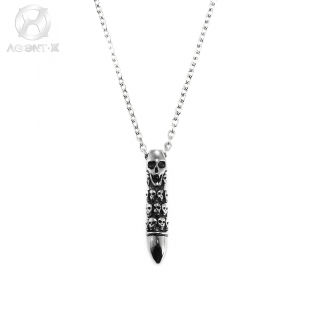 Online shop agentx classic men gents stainless steel bullet agentx classic men gents stainless steel bullet skeleton pattern craft chain romantic necklace pendant jewelry gift bag aap225 mozeypictures Choice Image