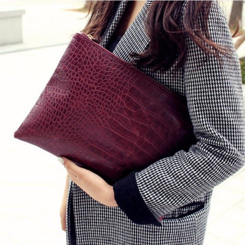 Women Fashion Envelope Clutch Bag Crocodile Pattern Personalized Lady Luxury Vintage Black Day Clutch Big Hand Bag Woman Brand