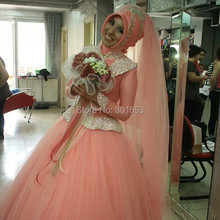 Oumeiya OW167 With Hijab Veil Heavy Beaded Coral Color High Neck Long Sleeve Muslim Wedding Gown 2015