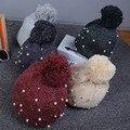 Осень и зима Корейский взрыв моделей вязаная шапка алмаз жемчужина шерсть шляпа высокое качество толстые трикотажные детские шапки