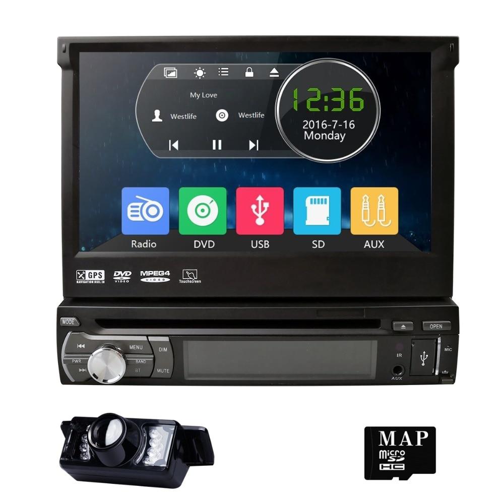 7 pouces universel 1din voiture lecteur DVD GPS Navigation AutoRadio Bluetooth lecteur multimédia volant Ipod RDSUSB CD TV caméra