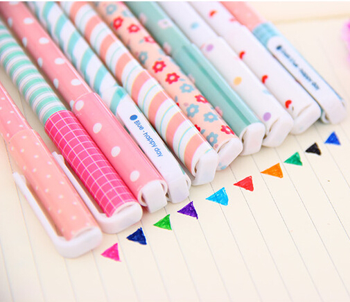[4Y4A] 10 color/Lot Packed beautiful color creative cute PVC HAPPY DAY Student school holiday gift