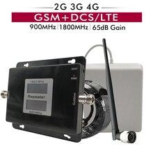 جهاز مقوي إشارة ثنائي النطاق GSM 900 + DCS LTE 1800mhz هاتف خلوي مكرر 2G 3G 4G مجموعة هوائي مكبر للصوت خلوي محمول 65dB