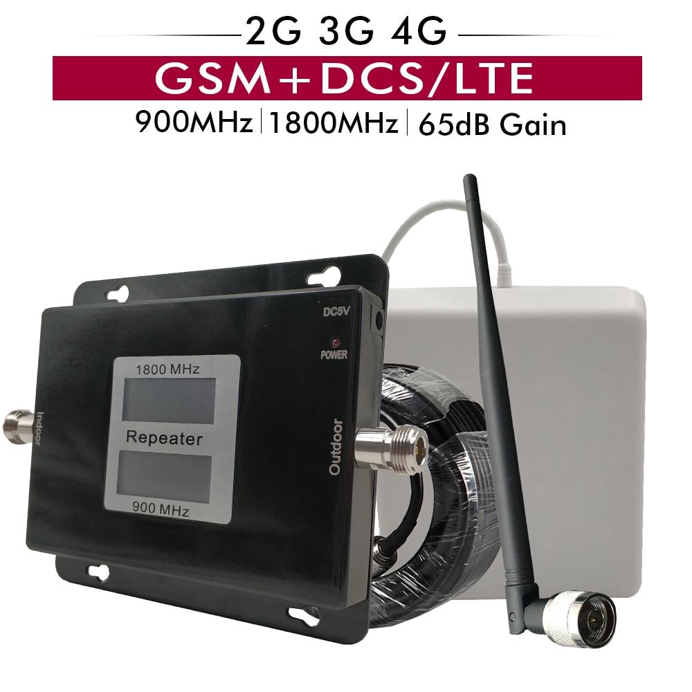 Rússia LTE Sinal de Reforço Dual Band GSM 900 + DCS 1800 mhz Celular Repetidor 2G 3G 4G Móvel Celular Amplificador Antena Set 65dB