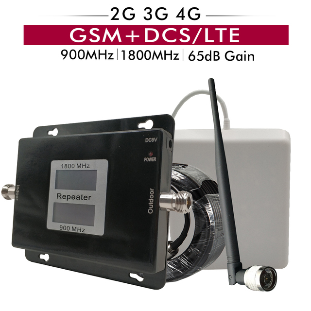 Rusland Dual Band Signal Booster Gsm 900 + Dcs Lte 1800 Mhz Mobiele Telefoon Repeater 2G 3G 4G Mobiele Cellulaire Versterker Antenne Set 65dB