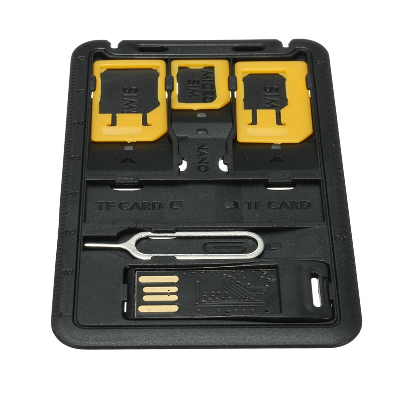 5 in 1 Universal Mini SIM Card Adapter Storage Case Kits For Nano Micro SIM Card Memory Card Holder Reader Case Cover Connector