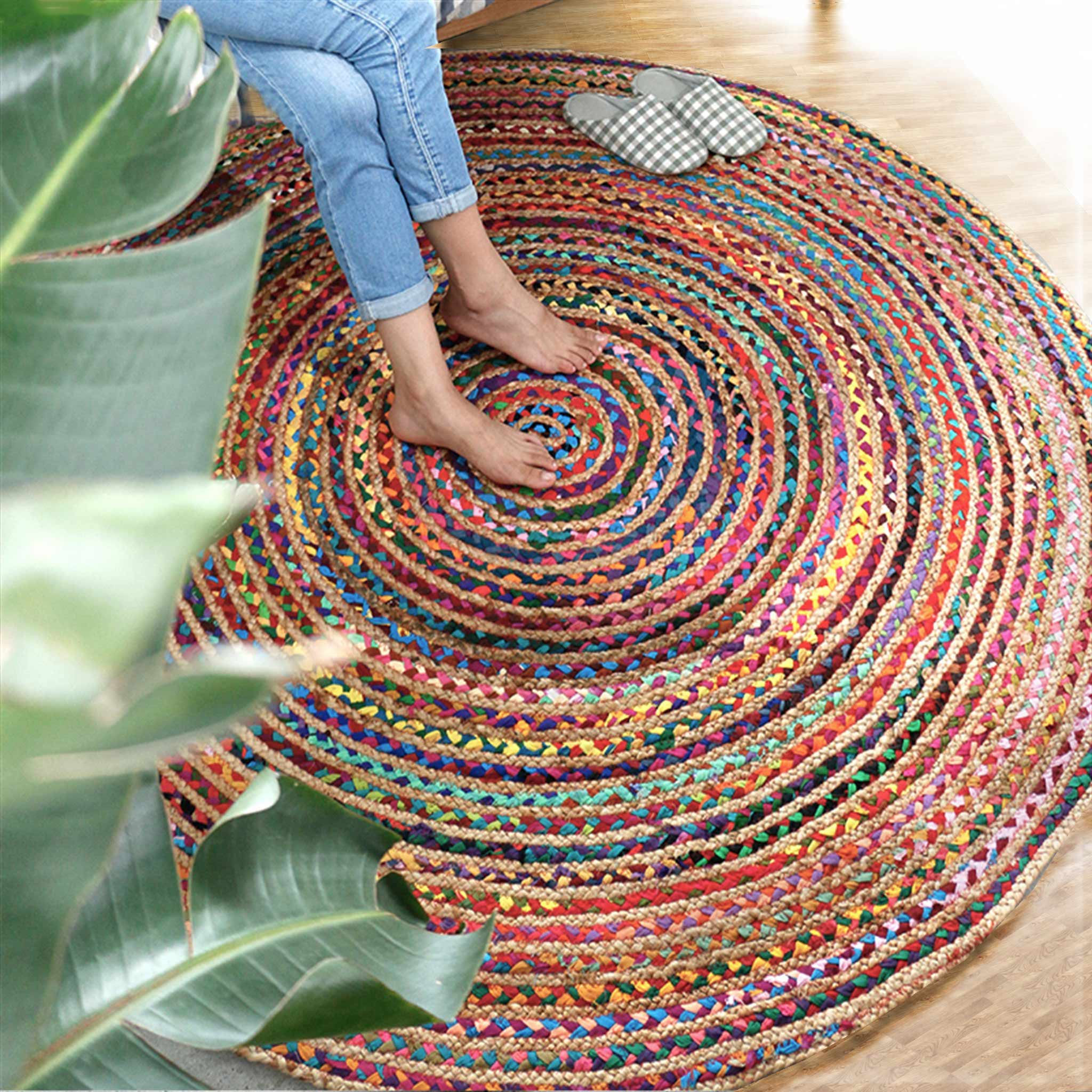 Hand Made Knitted Cotton Linen Round Carpets For Living Room Bedroom Bedside Rugs India Exported Computer Chair Round Rug Mat