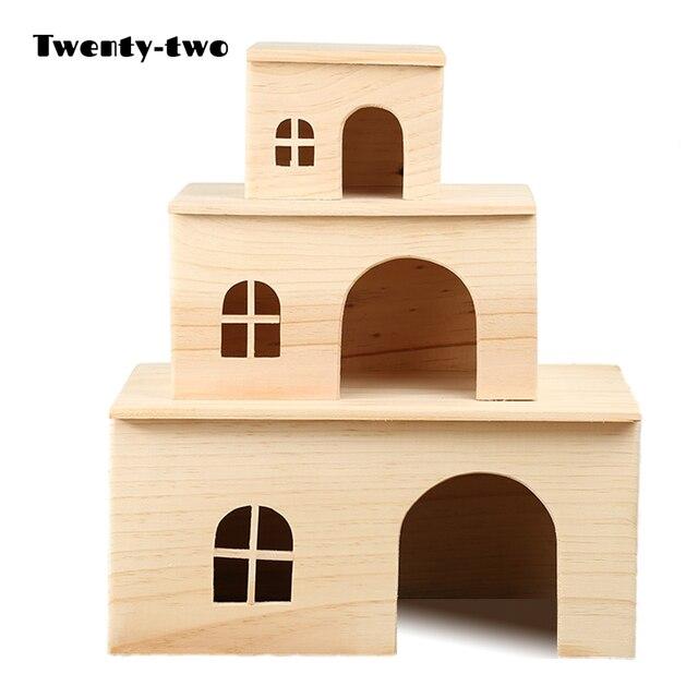 Аксессуары для домашних животных Деревянный хомяк домик белка деревянные клетки хомяк игрушки Ежик морская свинка Домик гнездо Шиншилла крыса деревянные дома