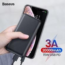 Baseus 20000 mah banco de potencia para iPhone Huawei Xiao mi 3A carga rápida PD USB Powerbank batería externa cargador USB C Pover banco