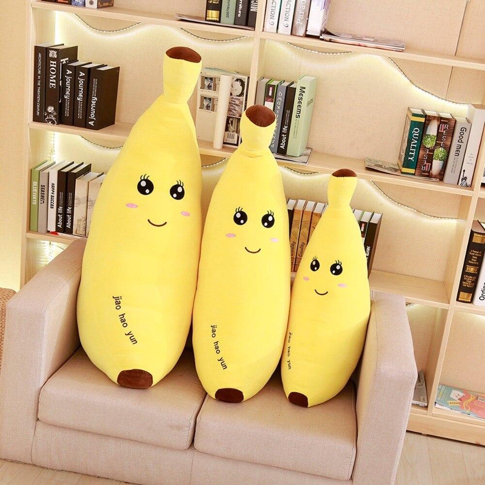 60 80 Cm Soft Cartoon Banana Plush Toy Super Soft Stuffed Fruit Banana Pillow Cushion Toys For Children in Stuffed Plush Animals from Toys Hobbies