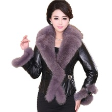 High-end Faux Fox Fur Collar 2017 New Autumn Winter Coat Female Fur Jacket Elegant Slim Fit PU Leather Patchwork Short Fur Coat faux fur collar zip up pu leather padded coat