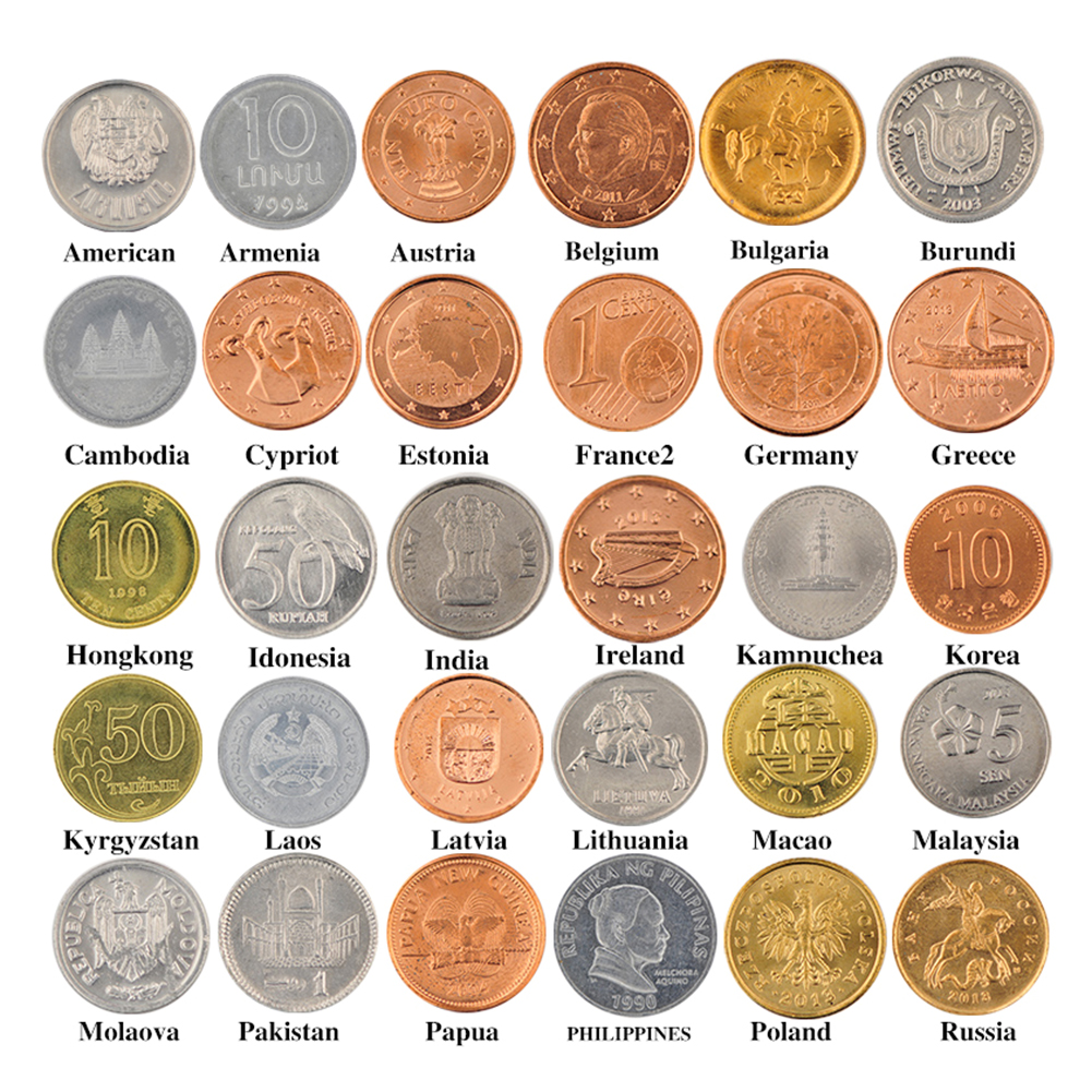 30pcs Collection Coins Set From Diffe 30 Countries Copy Genuine For Home Decoration