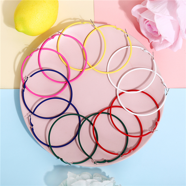 17KM 6 Color Metal Big Circle Hoop Earrings For Women Red Green Yellow Colorful Round Hoop.jpg 640x640 - 17KM 6 Color Metal Big Circle Hoop Earrings For Women Red Green Yellow Colorful Round Hoop Earring Ladies Fashion Jewelry 2019