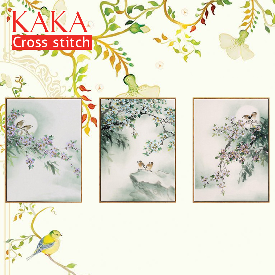 The Birds On The Tree Diy Paintings 11ct Printed On Canvas Cross Stitch Patterns Chinese Cross Stitch Kits Home Decoration Sufficient Supply Package