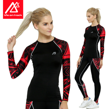 Women Compression Shirt Long Sleeve Fitness Under Tights Fashion Print T Shirts