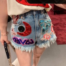 2019 summer Fashion womens jeans Brand new design embroidered sequins tassles short  A250
