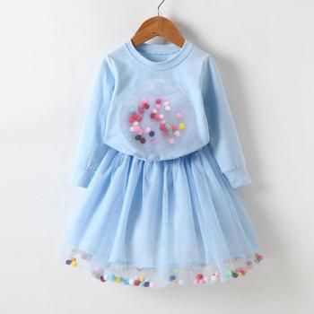 2PCs/Set Autumn Spring Girls Clothes Set Long Sleeve Sweatshirt  Pompom Skirt  1
