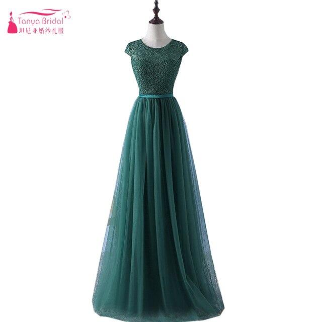 reputable site a810a 03bee Dunkelgrün Tulle Elegante Abendkleider Günstige Langer Abschlussball  Kleidet African Maid Of honor Kleider ZE002