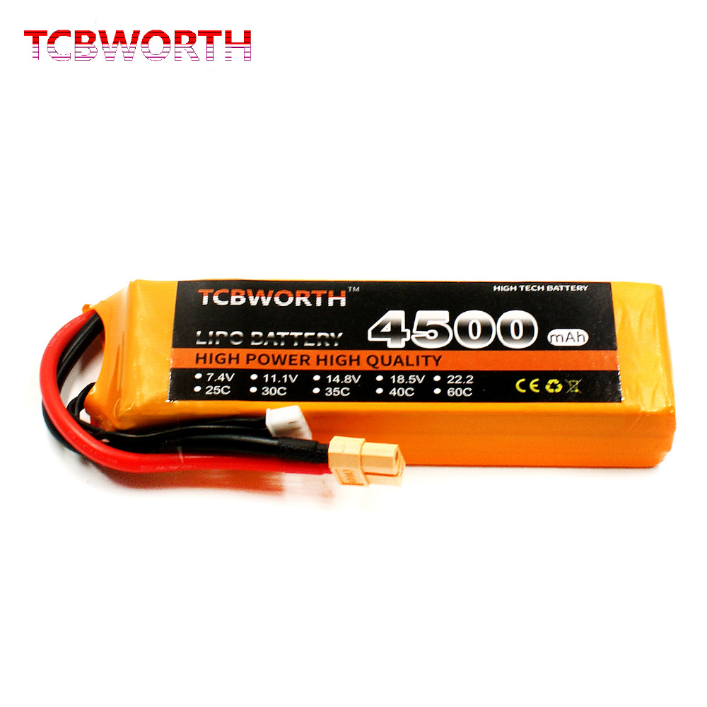 TCBWORTH RC LiPo Battery 3S 11.1V 4500mAh 30C 3s for RC Airplane Helicopter Quadrotor 1s 2s 3s 4s 5s 6s 7s 8s lipo battery balance connector for rc model battery esc