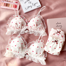 2018 new young girls small wire free sleep underwear lace love embroidery thin cup with pad  Japanese lingerie bra and panty set