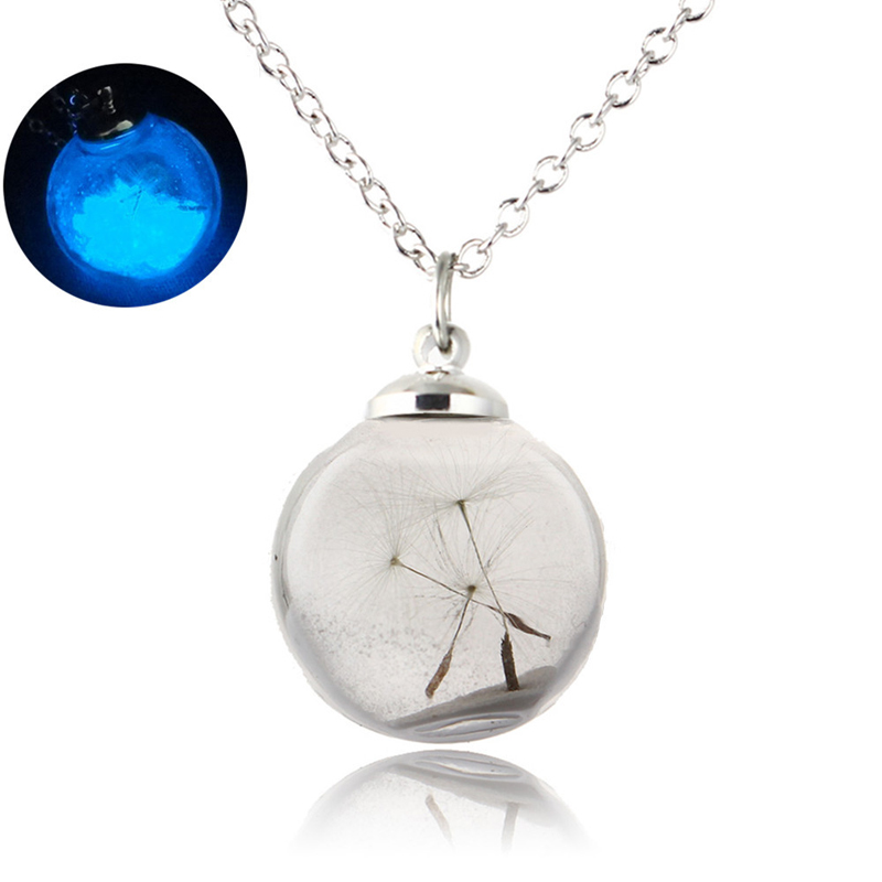 2018 Vintage Dandelion beads Pendant Necklace Glow In The Dark Glass Luminous Chain Make a Wish Necklace Gift for girl women