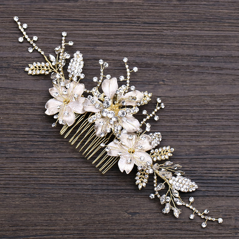 Jonnafe Delicate Gold Silver Floral Wedding Hair Comb Jewelry Rhinestone Bridal Headpiece Hair Crown Women Accessories delicate rhinestone leaf link chain hair band for women