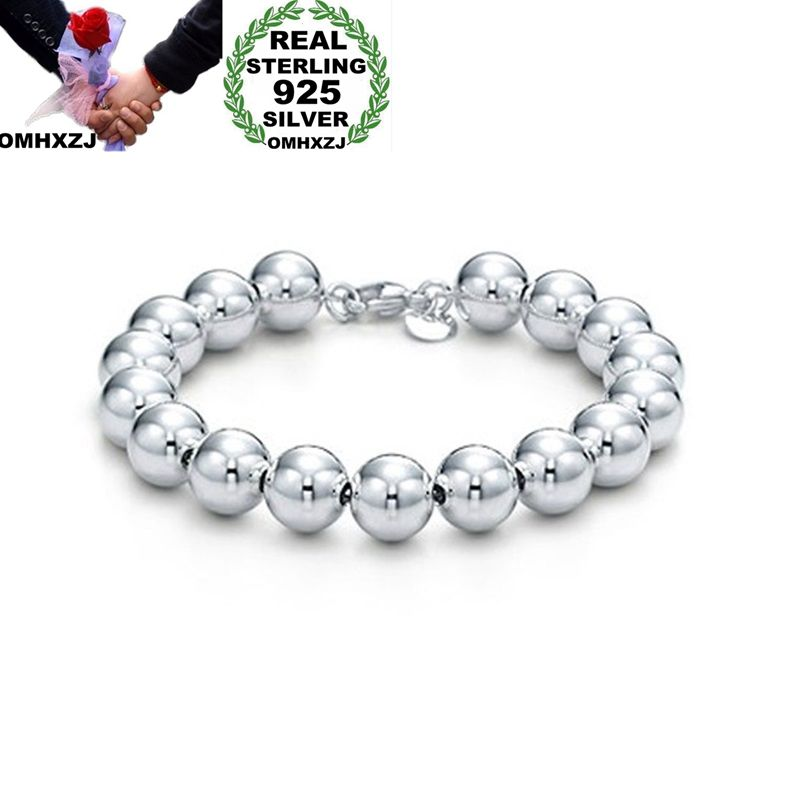 OMHXZJ Wholesale Personality Fashion OL Woman Girl Party Gift Silver 10mm Hollow Beads Chain 925 Sterling Silver Bracelet BR07