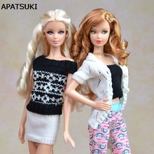 Multi Styles For Choose Gifts For Girls Suit Knitted Handmade Sweater Tops Coat Dress Clothes For Barbie Doll BJD Doll Accessory(China)