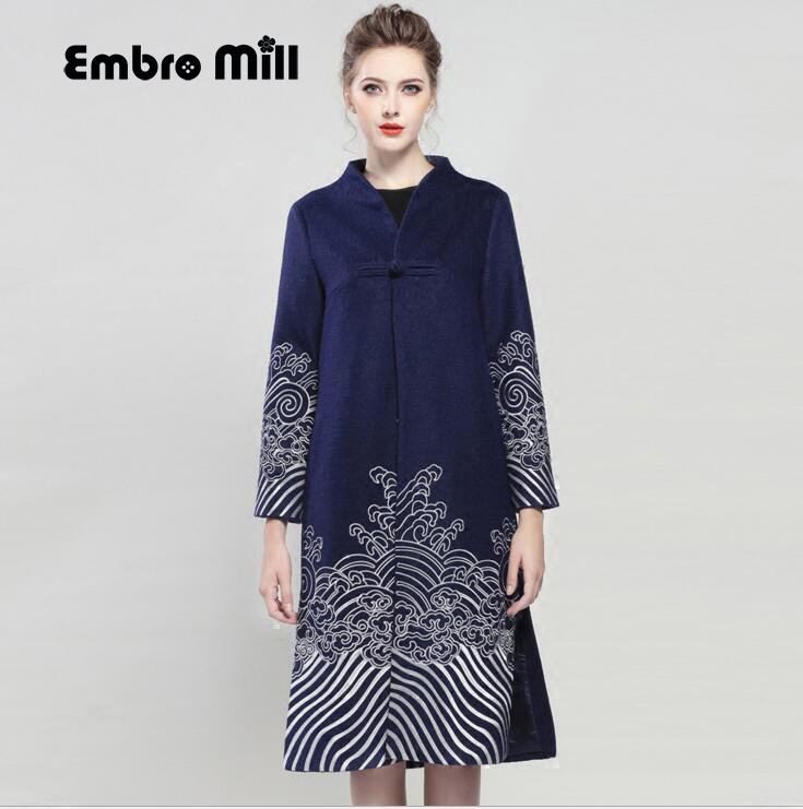 Высококачественное осенне зимнее пальто для женщин, винтажная ветровка, элегантное свободное шерстяное пальто с цветочной вышивкой, женск