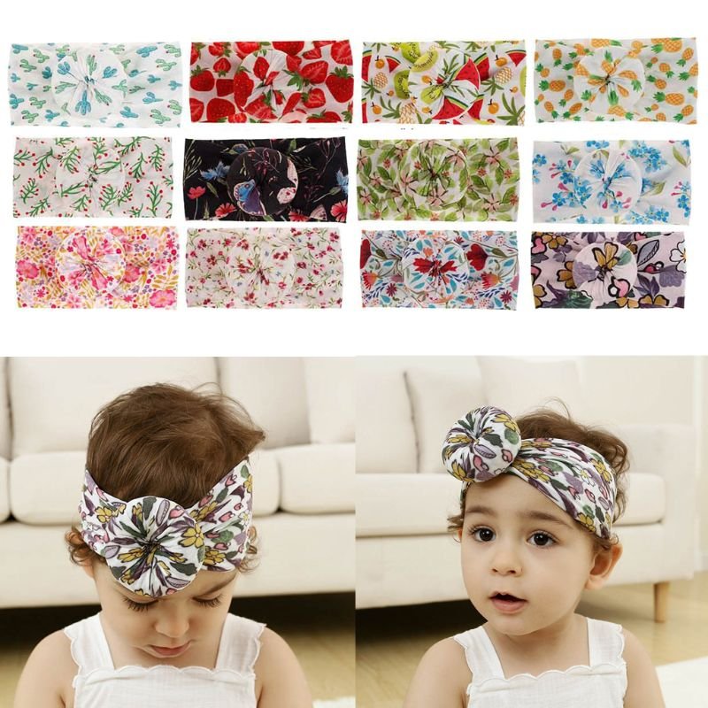 Floral Print Nylon Baby Headbands Knot Bow Nylon Head Wraps Wide Turban Headband Baby Girls Hair Accessories in Hair Accessories from Mother Kids